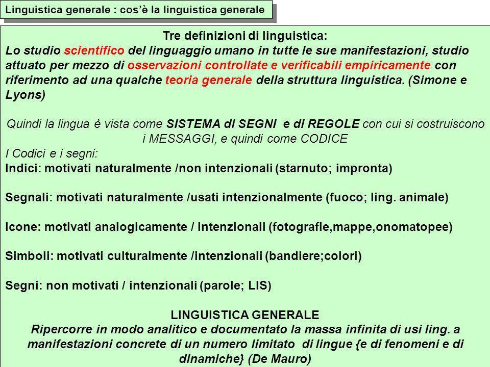 Tre definizioni di linguistica: Lo studio scientifico del linguaggio umano in tutte le sue manifestazioni, studio attuato per mezzo di osservazioni co