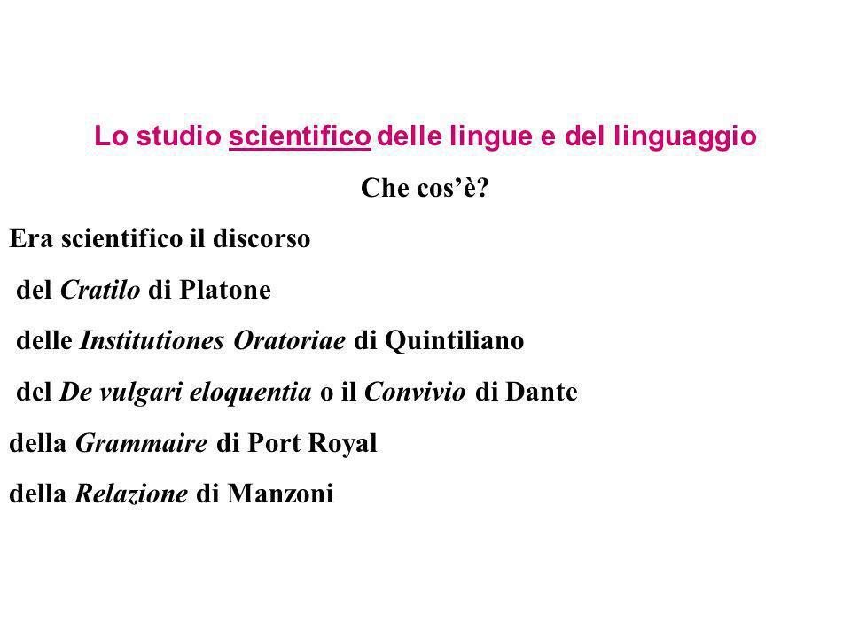 Lo studio scientifico delle lingue e del linguaggio Che cosè? Era scientifico il discorso del Cratilo di Platone delle Institutiones Oratoriae di Quin