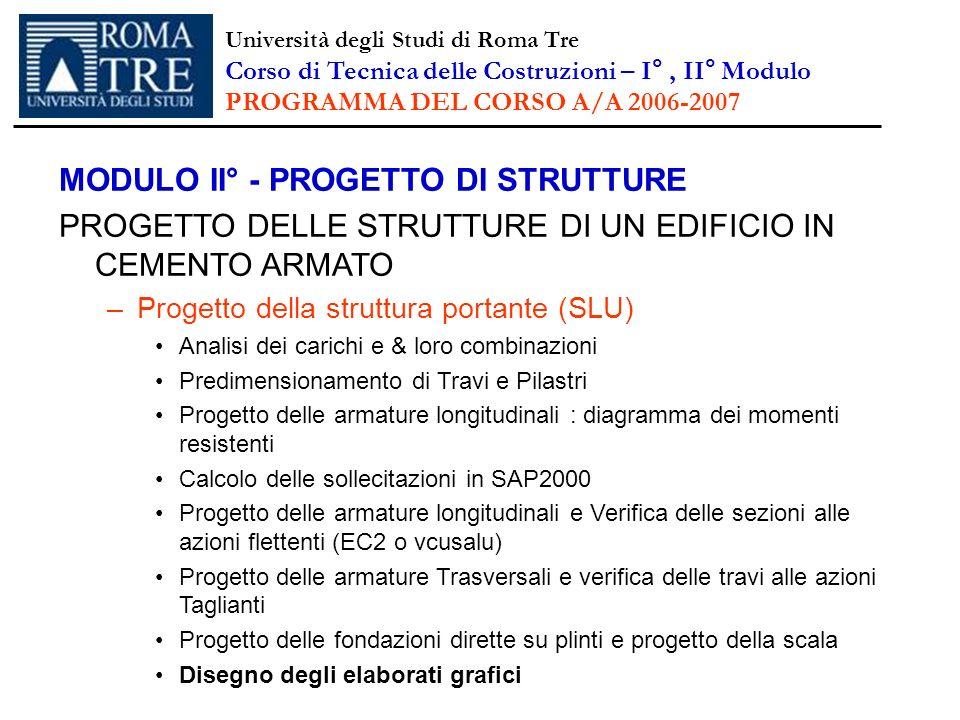 MODULO II° - PROGETTO DI STRUTTURE PROGETTO DELLE STRUTTURE DI UN EDIFICIO IN CEMENTO ARMATO –Progetto della struttura portante (SLU) Analisi dei cari