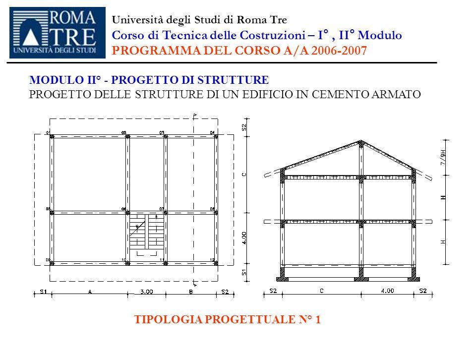 MODULO II° - PROGETTO DI STRUTTURE PROGETTO DELLE STRUTTURE DI UN EDIFICIO IN CEMENTO ARMATO TIPOLOGIA PROGETTUALE N° 1 Università degli Studi di Roma