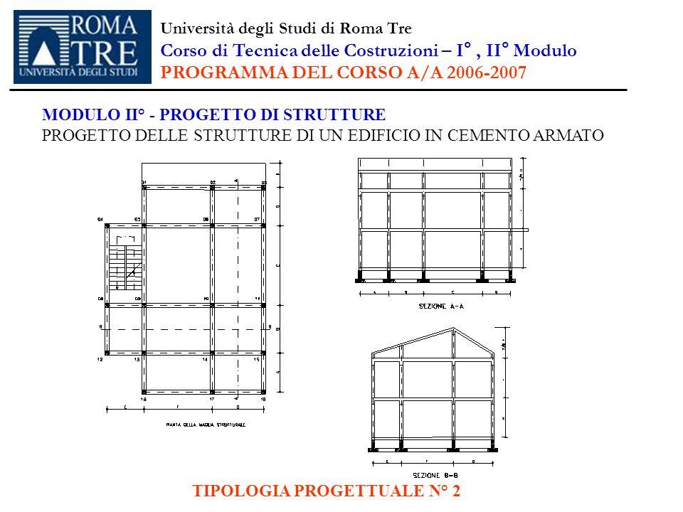 TIPOLOGIA PROGETTUALE N° 2 MODULO II° - PROGETTO DI STRUTTURE PROGETTO DELLE STRUTTURE DI UN EDIFICIO IN CEMENTO ARMATO Università degli Studi di Roma