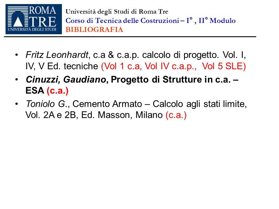 Fritz Leonhardt, c.a & c.a.p. calcolo di progetto. Vol. I, IV, V Ed. tecniche (Vol 1 c.a, Vol IV c.a.p., Vol 5 SLE) Cinuzzi, Gaudiano, Progetto di Str