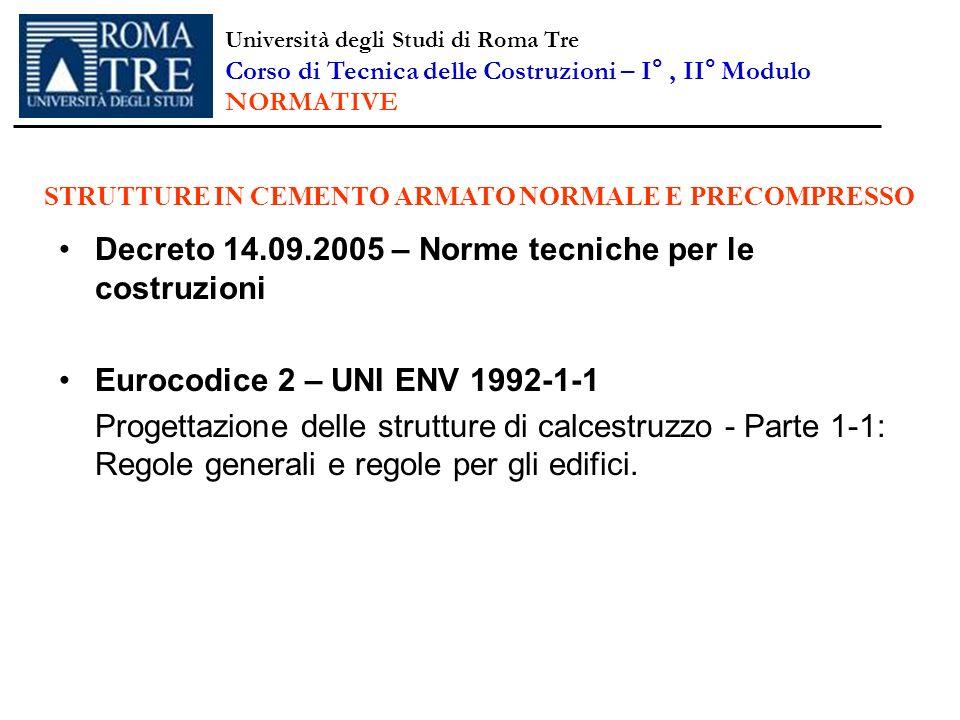 Decreto 14.09.2005 – Norme tecniche per le costruzioni Eurocodice 2 – UNI ENV 1992-1-1 Progettazione delle strutture di calcestruzzo - Parte 1-1: Rego