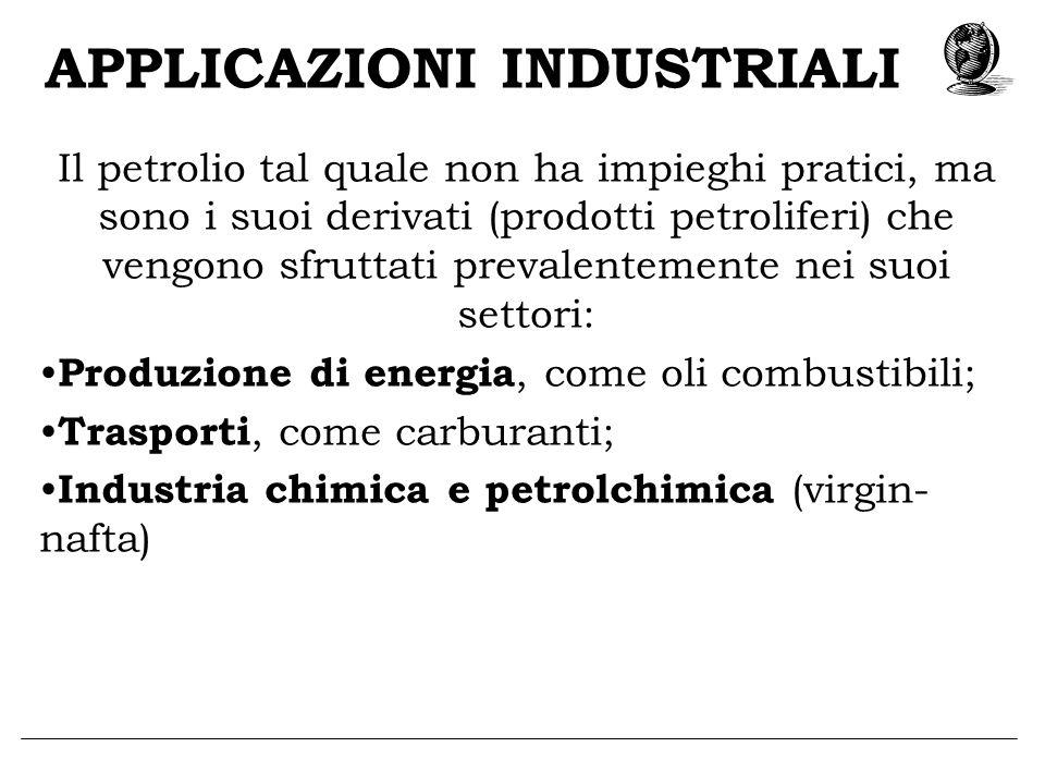 APPLICAZIONI INDUSTRIALI Il petrolio tal quale non ha impieghi pratici, ma sono i suoi derivati (prodotti petroliferi) che vengono sfruttati prevalent