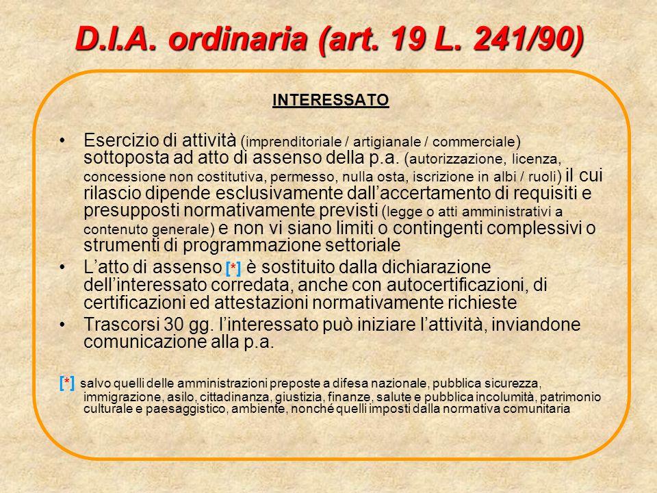 D.I.A. ordinaria (art. 19 L. 241/90) INTERESSATO Esercizio di attività ( imprenditoriale / artigianale / commerciale ) sottoposta ad atto di assenso d