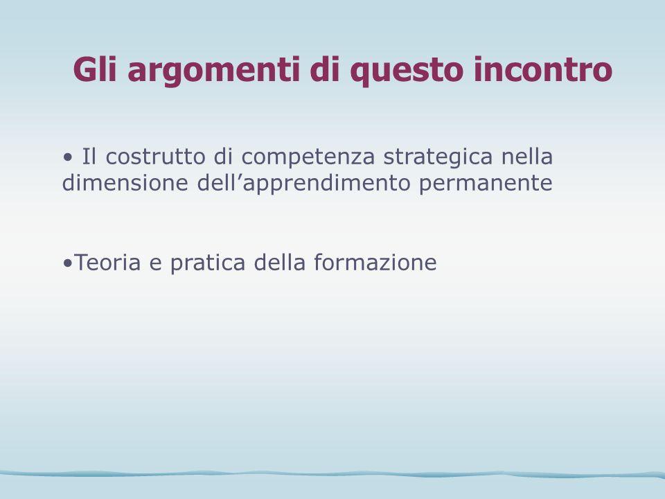 Gli argomenti di questo incontro Il costrutto di competenza strategica nella dimensione dellapprendimento permanente Teoria e pratica della formazione