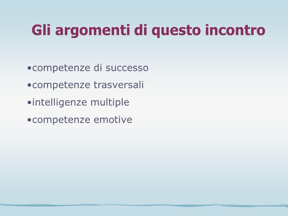 Gli argomenti di questo incontro competenze di successo competenze trasversali intelligenze multiple competenze emotive