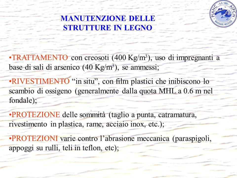 MANUTENZIONE DELLE STRUTTURE IN LEGNO TRATTAMENTO con creosoti (400 Kg/m 3 ), uso di impregnanti a base di sali di arsenico (40 Kg/m 3 ), se ammessi;