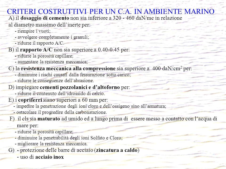 CRITERI COSTRUTTIVI PER UN C.A. IN AMBIENTE MARINO A) il dosaggio di cemento non sia inferiore a 320 - 460 daN/mc in relazione al diametro massimo del