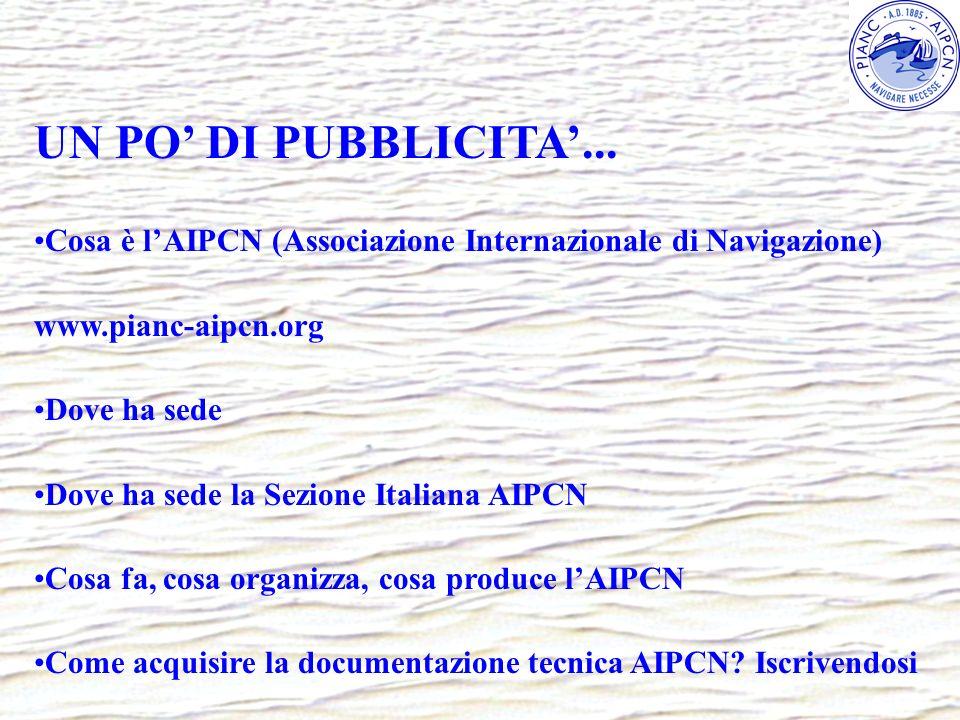 UN PO DI PUBBLICITA... Cosa è lAIPCN (Associazione Internazionale di Navigazione) www.pianc-aipcn.org Dove ha sede Dove ha sede la Sezione Italiana AI