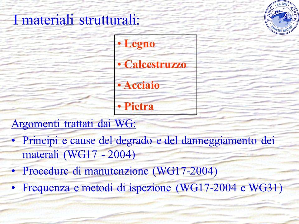 I materiali strutturali: Argomenti trattati dai WG: Principi e cause del degrado e del danneggiamento dei materali (WG17 - 2004) Procedure di manutenz