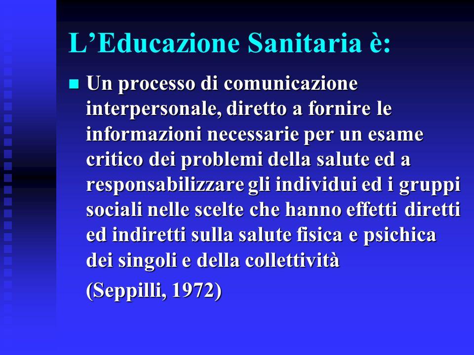LEducazione Sanitaria è: Un processo di comunicazione interpersonale, diretto a fornire le informazioni necessarie per un esame critico dei problemi d
