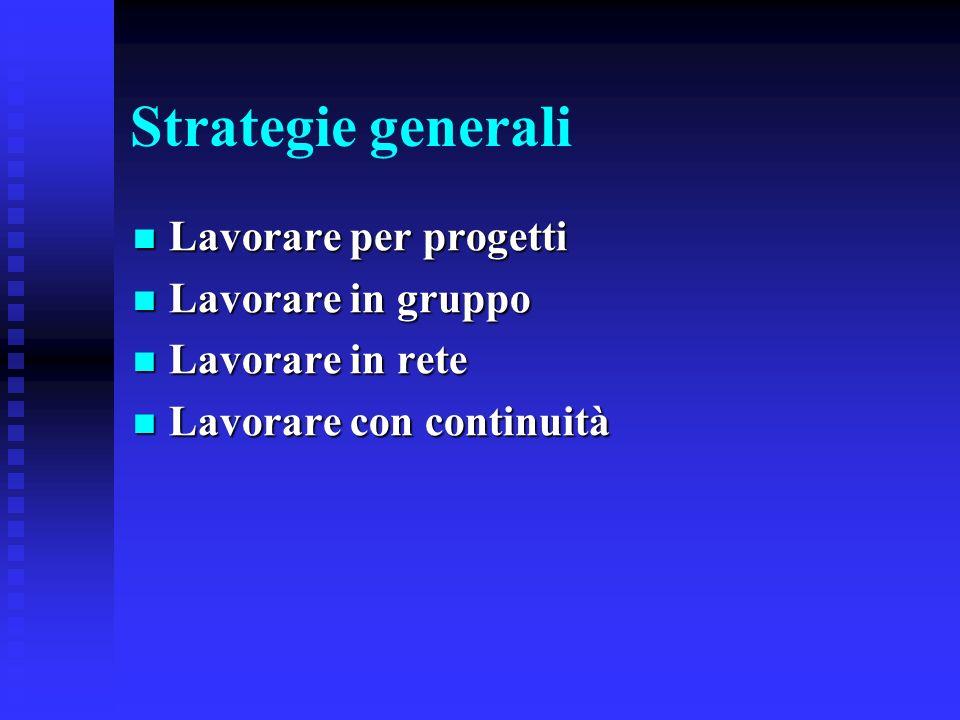 Strategie generali Lavorare per progetti Lavorare per progetti Lavorare in gruppo Lavorare in gruppo Lavorare in rete Lavorare in rete Lavorare con co