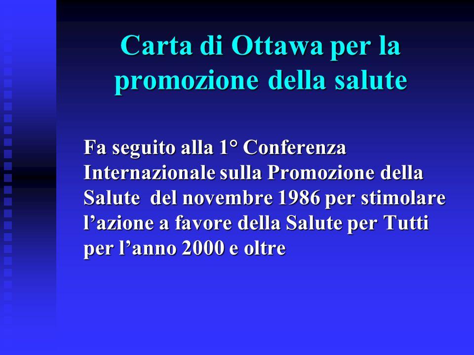 Carta di Ottawa per la promozione della salute Fa seguito alla 1° Conferenza Internazionale sulla Promozione della Salute del novembre 1986 per stimol
