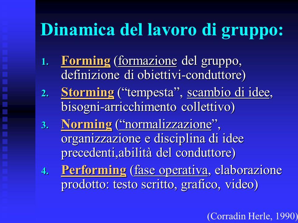 Dinamica del lavoro di gruppo: 1. Forming (formazione del gruppo, definizione di obiettivi-conduttore) 2. Storming (tempesta, scambio di idee, bisogni