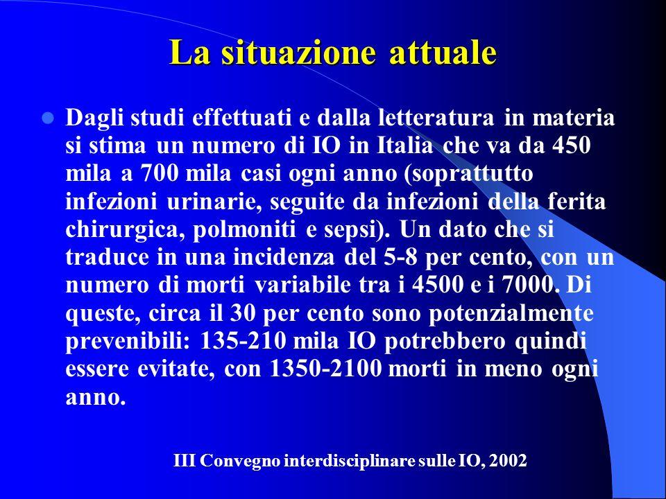 La situazione attuale Dagli studi effettuati e dalla letteratura in materia si stima un numero di IO in Italia che va da 450 mila a 700 mila casi ogni anno (soprattutto infezioni urinarie, seguite da infezioni della ferita chirurgica, polmoniti e sepsi).