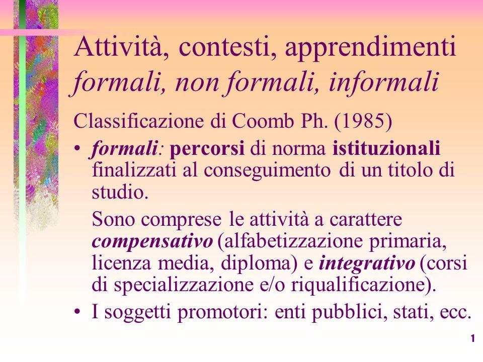 1 Attività, contesti, apprendimenti formali, non formali, informali Classificazione di Coomb Ph. (1985) formali: percorsi di norma istituzionali final