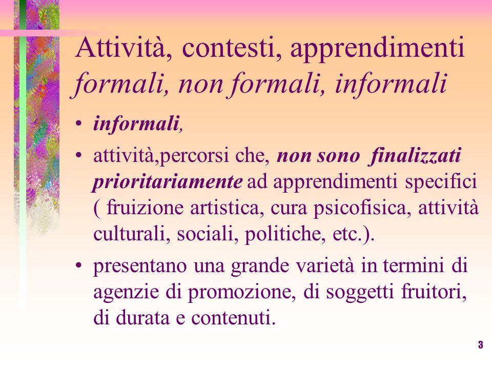 3 Attività, contesti, apprendimenti formali, non formali, informali informali, attività,percorsi che, non sono finalizzati prioritariamente ad apprend