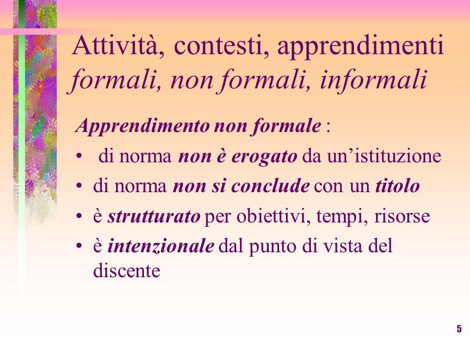5 Attività, contesti, apprendimenti formali, non formali, informali Apprendimento non formale : di norma non è erogato da unistituzione di norma non s