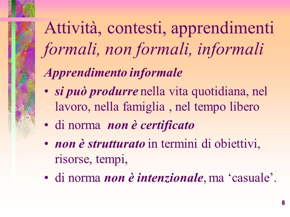 6 Attività, contesti, apprendimenti formali, non formali, informali Apprendimento informale si può produrre nella vita quotidiana, nel lavoro, nella f