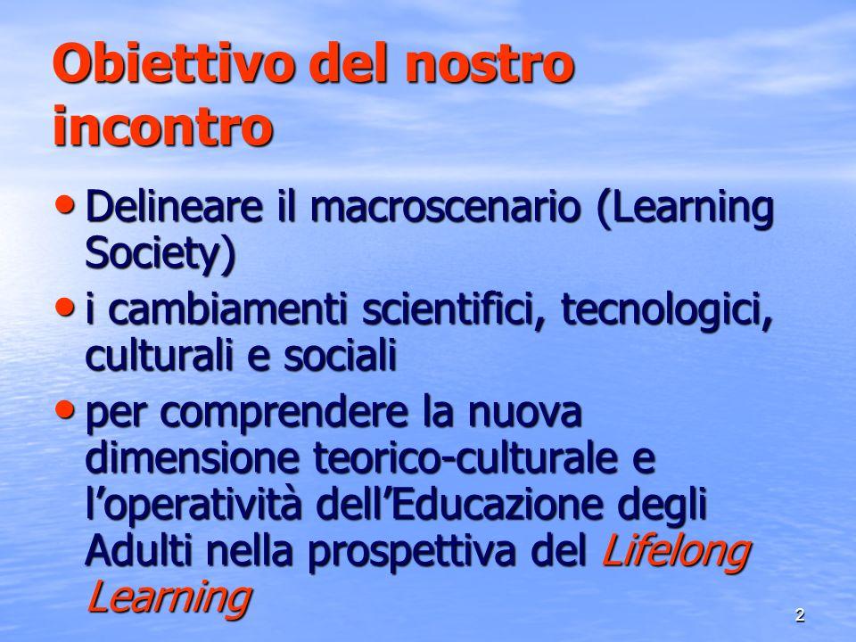 3 LA PROSPETTIVA DEL LIFELONG LEARNING Il concetto di apprendimento permanente (A.P.) Lifelong Learning è inteso come paradigma della formazione nel XXI secolo (learning age e società globalizzata) centrato sullimportanza della competenza di centrato sullimportanza della competenza di Apprendere ad Apprendere per tutta la vita Dimensione innovativa e di profondo cambiamento Dimensione innovativa e di profondo cambiamento - sul piano teorico - sul piano teorico - sul piano dellagire formativo - sul piano dellagire formativo - sul piano della gestione e sviluppo qualitativo delle - sul piano della gestione e sviluppo qualitativo delle istituzioni/ percorsi formativi istituzioni/ percorsi formativi