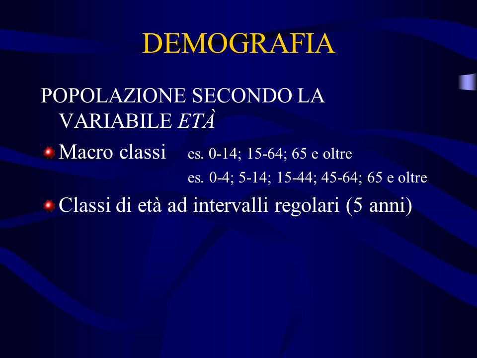 DEMOGRAFIA POPOLAZIONE SECONDO LA VARIABILE ETÀ Macro classi es. 0-14; 15-64; 65 e oltre es. 0-4; 5-14; 15-44; 45-64; 65 e oltre Classi di età ad inte