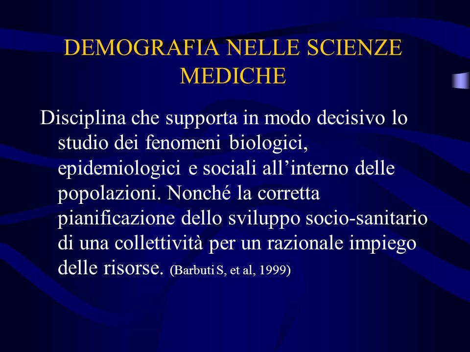DEMOGRAFIA NELLE SCIENZE MEDICHE Disciplina che supporta in modo decisivo lo studio dei fenomeni biologici, epidemiologici e sociali allinterno delle