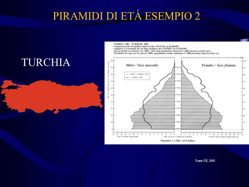PIRAMIDI DI ETÀ ESEMPIO 2 TURCHIA Fonte UE, 2001