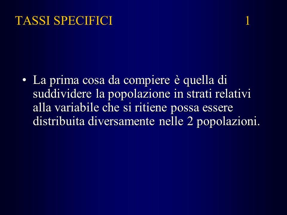 TASSI SPECIFICI 1 La prima cosa da compiere è quella di suddividere la popolazione in strati relativi alla variabile che si ritiene possa essere distr