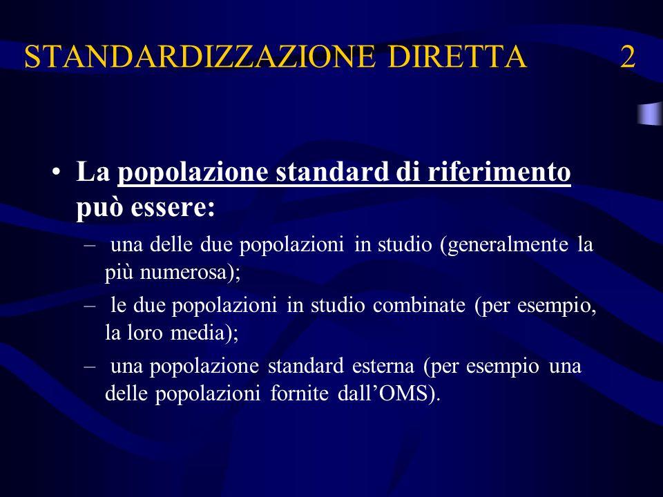 STANDARDIZZAZIONE DIRETTA 2 La popolazione standard di riferimento può essere: – una delle due popolazioni in studio (generalmente la più numerosa); –
