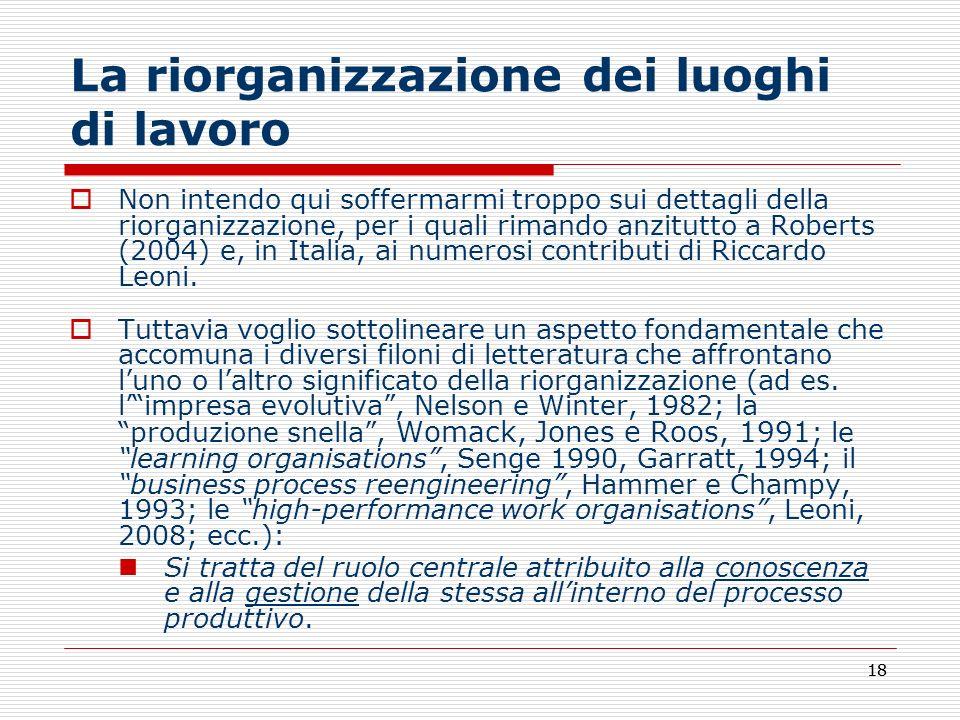 18 La riorganizzazione dei luoghi di lavoro Non intendo qui soffermarmi troppo sui dettagli della riorganizzazione, per i quali rimando anzitutto a Ro