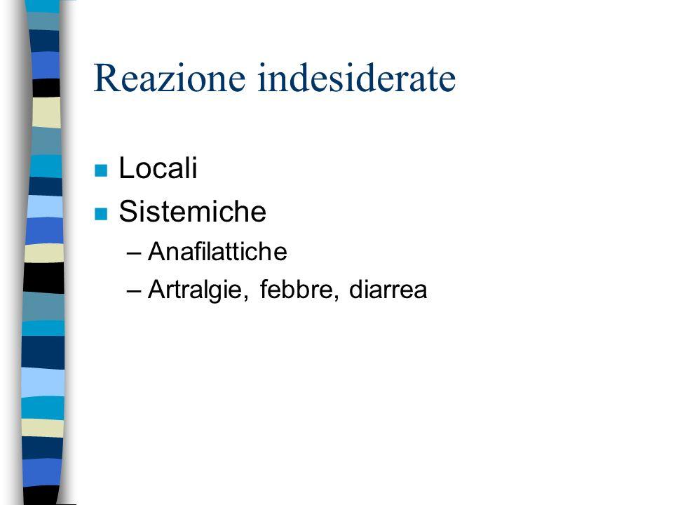Reazione indesiderate n Locali n Sistemiche –Anafilattiche –Artralgie, febbre, diarrea