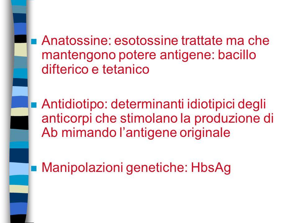 n Anatossine: esotossine trattate ma che mantengono potere antigene: bacillo difterico e tetanico n Antidiotipo: determinanti idiotipici degli anticorpi che stimolano la produzione di Ab mimando lantigene originale n Manipolazioni genetiche: HbsAg