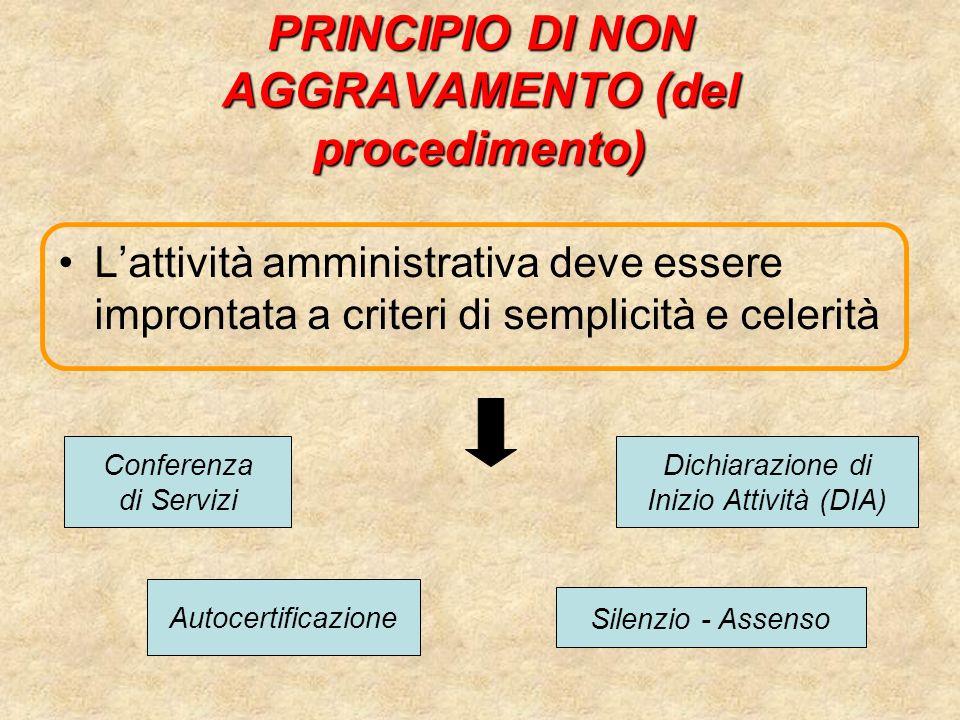 PRINCIPIO DI NON AGGRAVAMENTO (del procedimento) Lattività amministrativa deve essere improntata a criteri di semplicità e celerità Conferenza di Serv