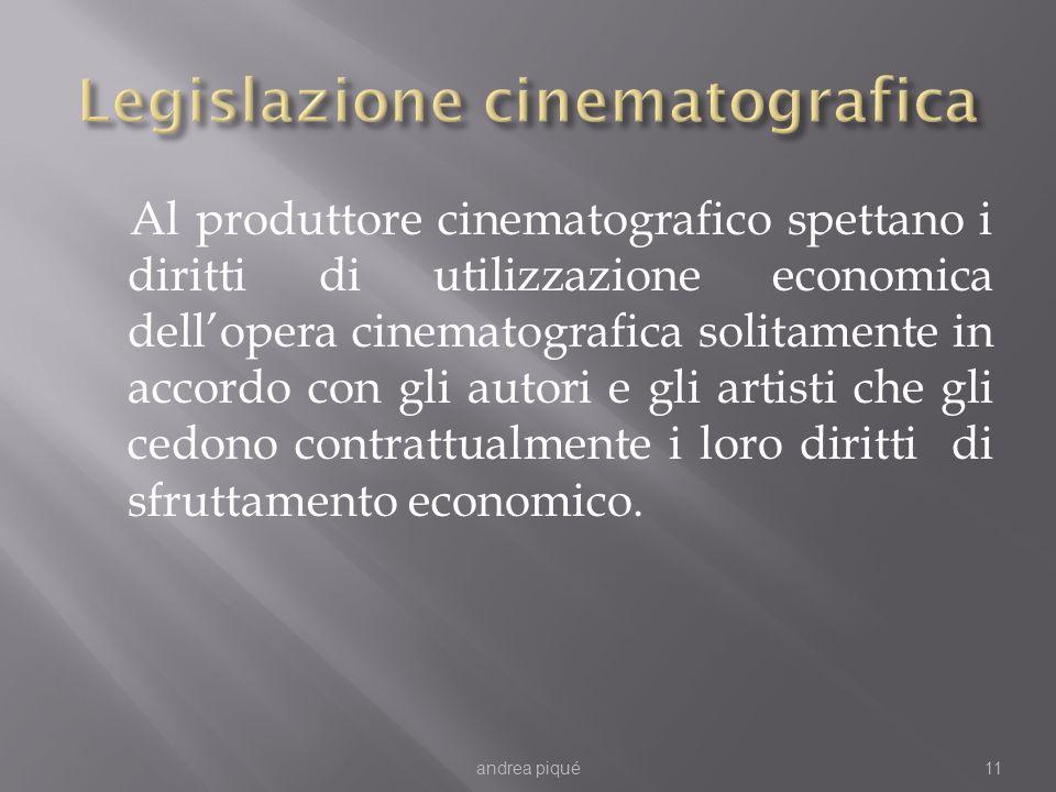 Al produttore cinematografico spettano i diritti di utilizzazione economica dellopera cinematografica solitamente in accordo con gli autori e gli artisti che gli cedono contrattualmente i loro diritti di sfruttamento economico.