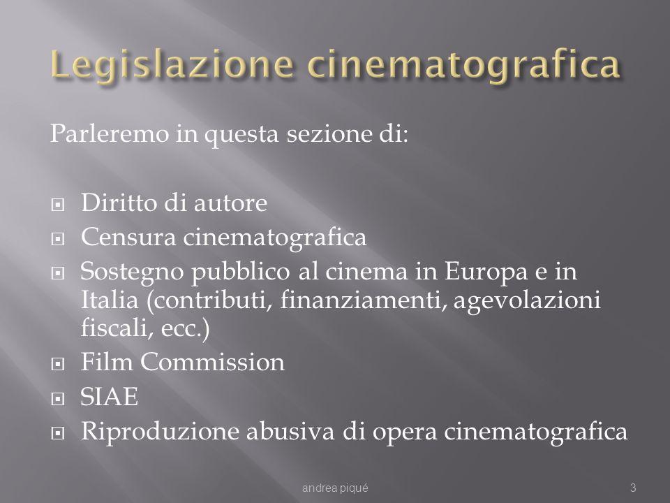 Parleremo in questa sezione di: Diritto di autore Censura cinematografica Sostegno pubblico al cinema in Europa e in Italia (contributi, finanziamenti, agevolazioni fiscali, ecc.) Film Commission SIAE Riproduzione abusiva di opera cinematografica andrea piqué3