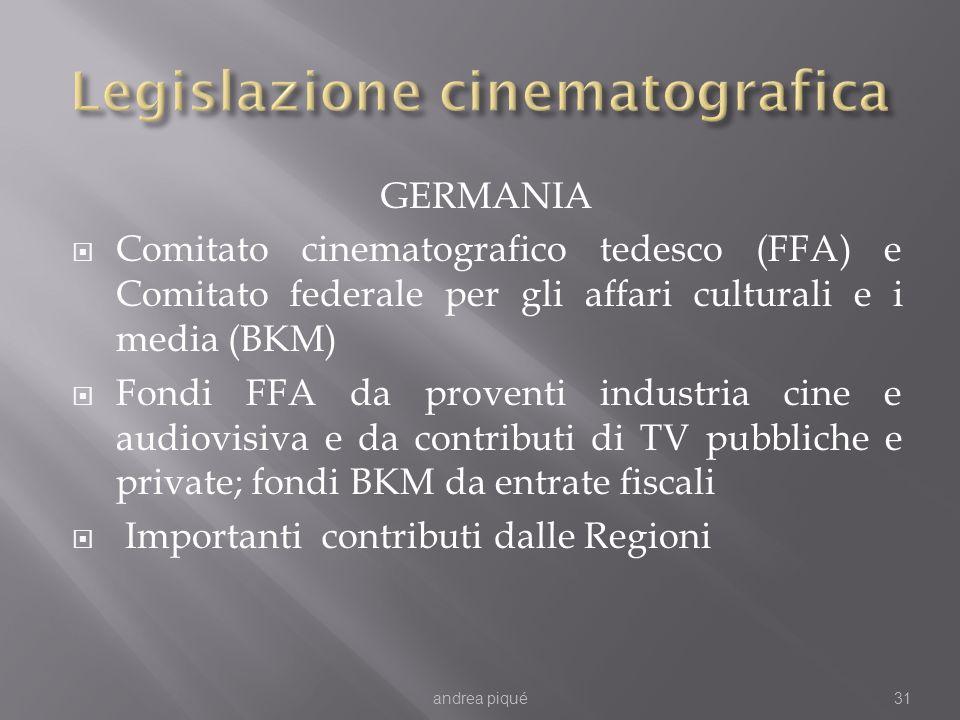 GERMANIA Comitato cinematografico tedesco (FFA) e Comitato federale per gli affari culturali e i media (BKM) Fondi FFA da proventi industria cine e audiovisiva e da contributi di TV pubbliche e private; fondi BKM da entrate fiscali Importanti contributi dalle Regioni andrea piqué31