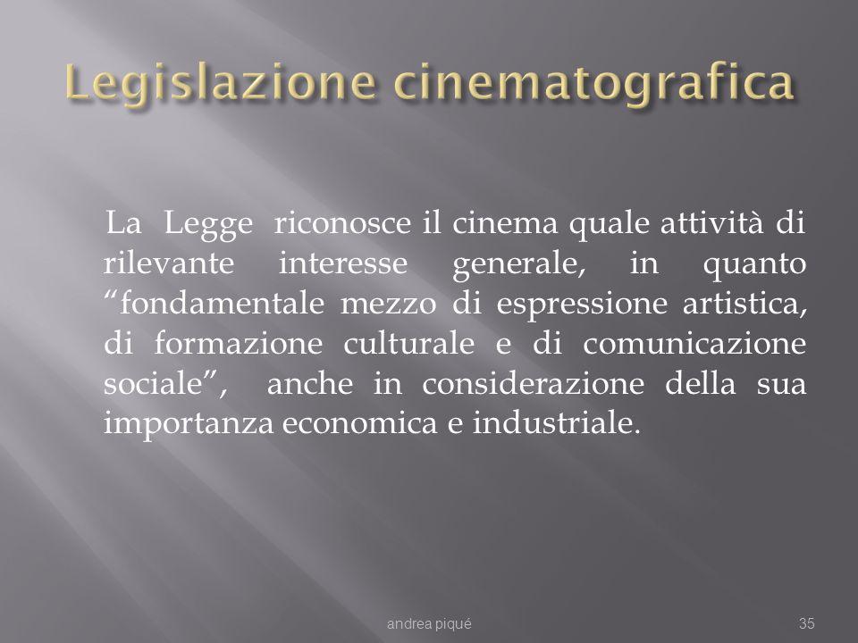 La Legge riconosce il cinema quale attività di rilevante interesse generale, in quanto fondamentale mezzo di espressione artistica, di formazione culturale e di comunicazione sociale, anche in considerazione della sua importanza economica e industriale.