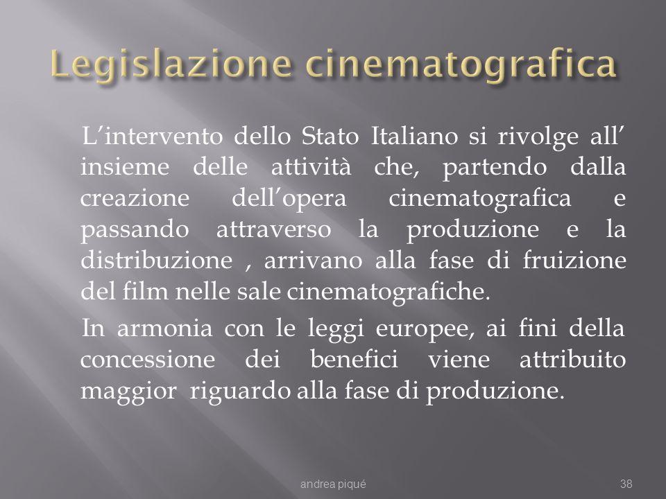 Lintervento dello Stato Italiano si rivolge all insieme delle attività che, partendo dalla creazione dellopera cinematografica e passando attraverso la produzione e la distribuzione, arrivano alla fase di fruizione del film nelle sale cinematografiche.