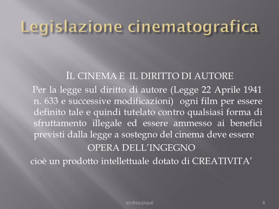 I L CINEMA E IL DIRITTO DI AUTORE Per la legge sul diritto di autore (Legge 22 Aprile 1941 n.