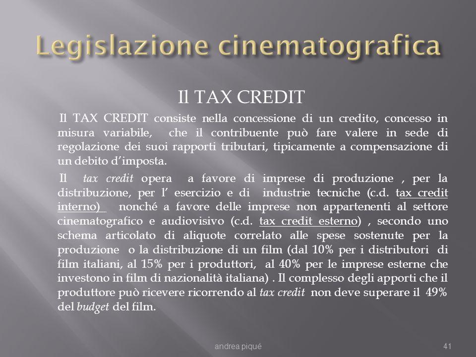 Il TAX CREDIT Il TAX CREDIT consiste nella concessione di un credito, concesso in misura variabile, che il contribuente può fare valere in sede di regolazione dei suoi rapporti tributari, tipicamente a compensazione di un debito dimposta.