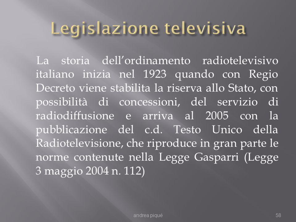 La storia dellordinamento radiotelevisivo italiano inizia nel 1923 quando con Regio Decreto viene stabilita la riserva allo Stato, con possibilità di concessioni, del servizio di radiodiffusione e arriva al 2005 con la pubblicazione del c.d.