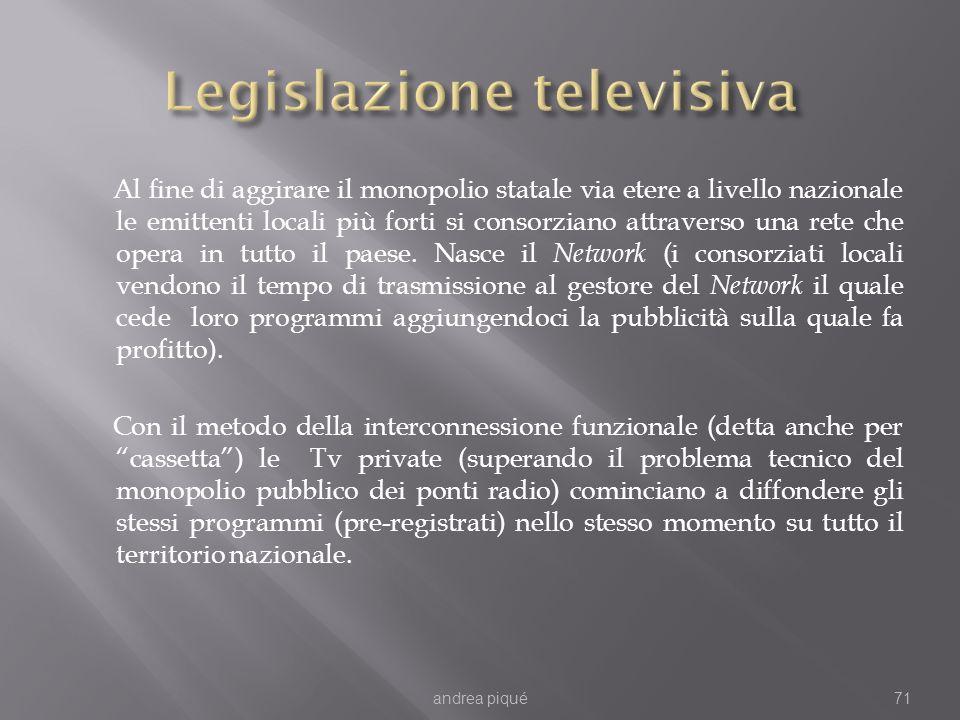 Al fine di aggirare il monopolio statale via etere a livello nazionale le emittenti locali più forti si consorziano attraverso una rete che opera in tutto il paese.