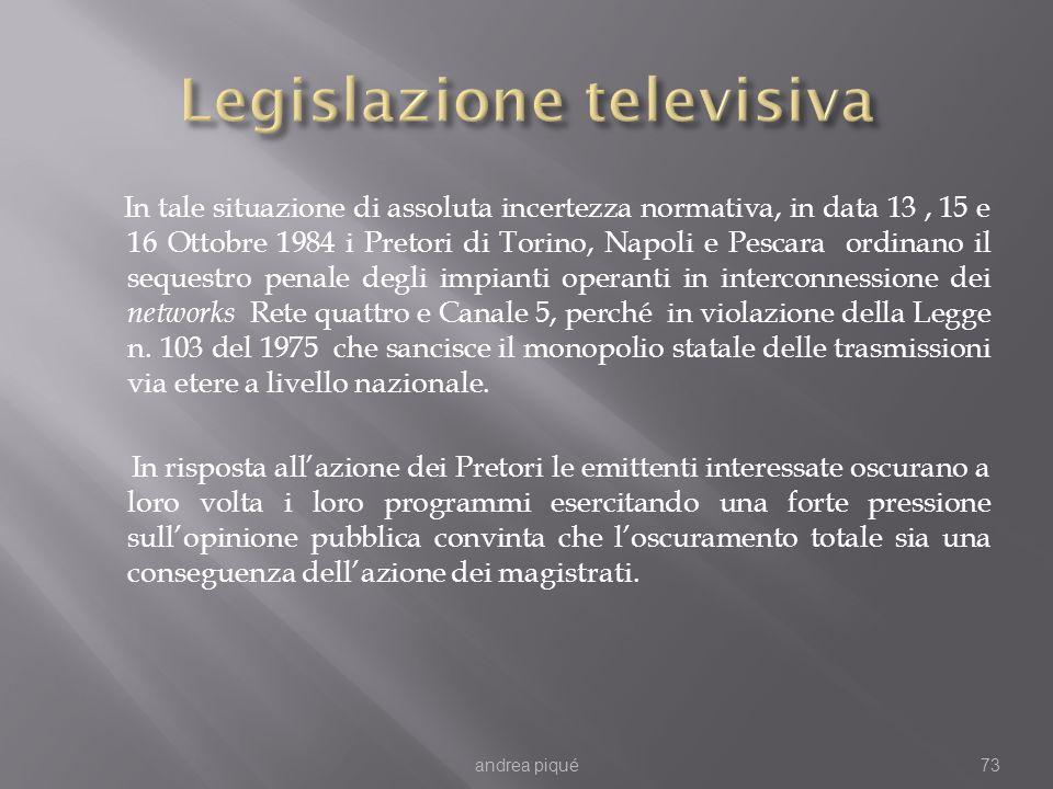 In tale situazione di assoluta incertezza normativa, in data 13, 15 e 16 Ottobre 1984 i Pretori di Torino, Napoli e Pescara ordinano il sequestro penale degli impianti operanti in interconnessione dei networks Rete quattro e Canale 5, perché in violazione della Legge n.