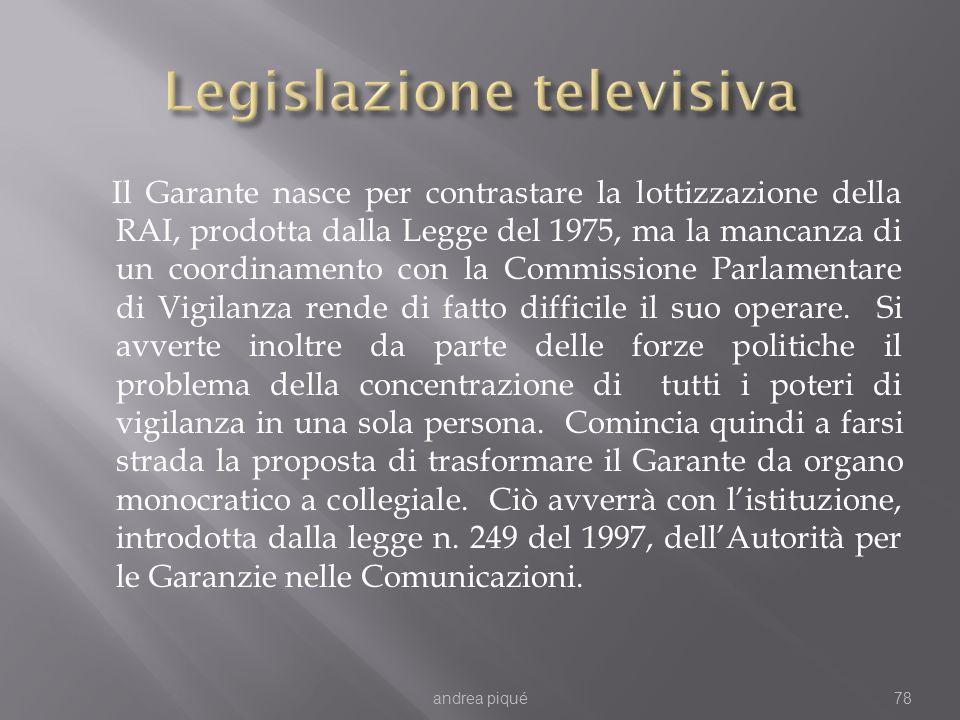 Il Garante nasce per contrastare la lottizzazione della RAI, prodotta dalla Legge del 1975, ma la mancanza di un coordinamento con la Commissione Parlamentare di Vigilanza rende di fatto difficile il suo operare.