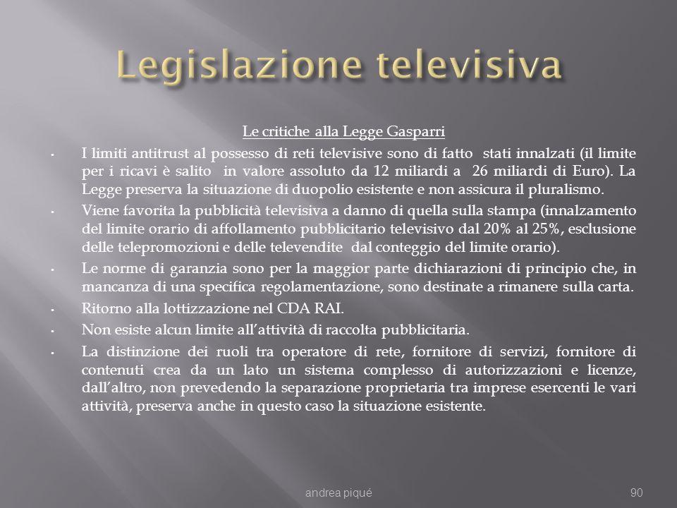 Le critiche alla Legge Gasparri I limiti antitrust al possesso di reti televisive sono di fatto stati innalzati (il limite per i ricavi è salito in valore assoluto da 12 miliardi a 26 miliardi di Euro).