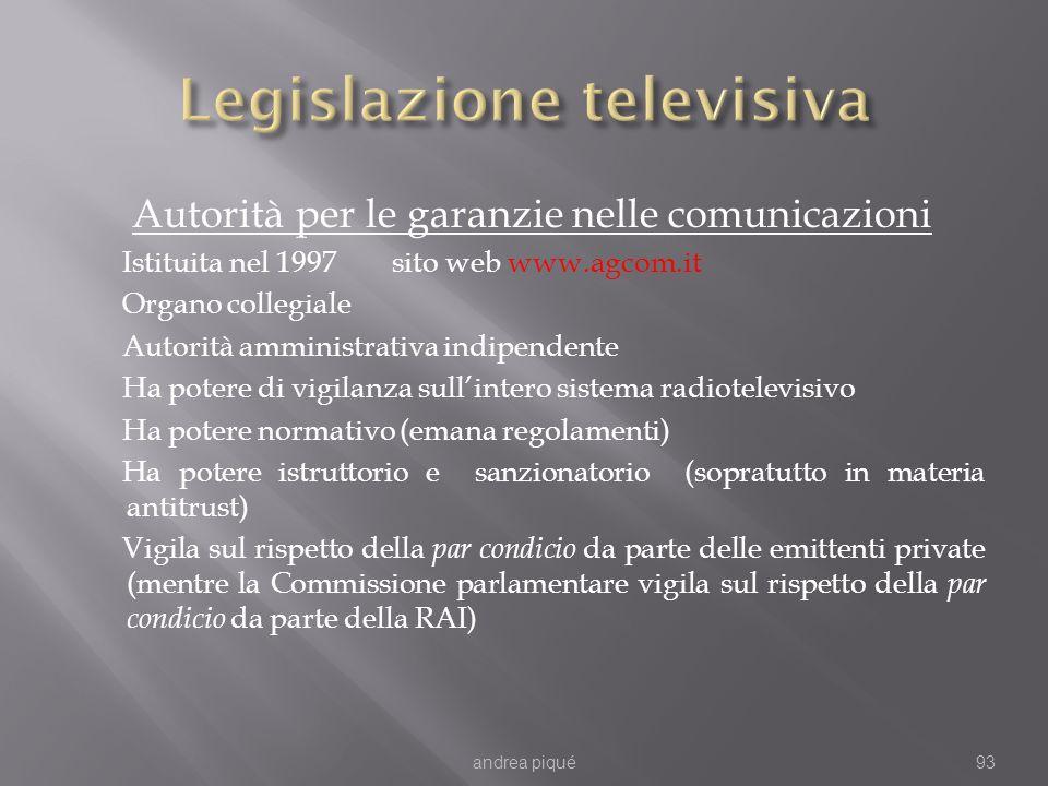 Autorità per le garanzie nelle comunicazioni Istituita nel 1997 sito web www.agcom.it Organo collegiale Autorità amministrativa indipendente Ha potere di vigilanza sullintero sistema radiotelevisivo Ha potere normativo (emana regolamenti) Ha potere istruttorio e sanzionatorio (sopratutto in materia antitrust) Vigila sul rispetto della par condicio da parte delle emittenti private (mentre la Commissione parlamentare vigila sul rispetto della par condicio da parte della RAI) andrea piqué93
