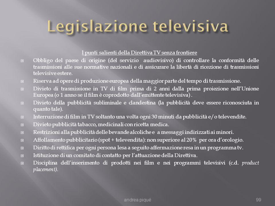 l punti salienti della Direttiva TV senza frontiere Obbligo del paese di origine (del servizio audiovisivo) di controllare la conformità delle trasmissioni alle sue normative nazionali e di assicurare la libertà di ricezione di trasmissioni televisive estere.