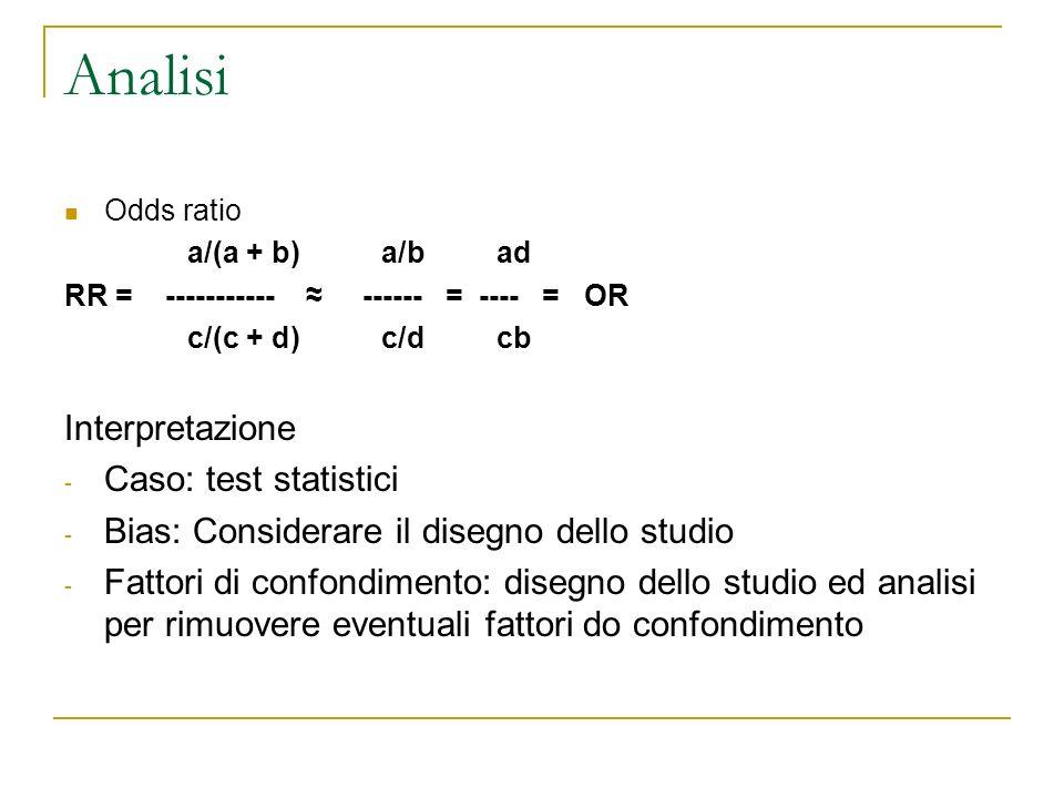 Analisi Odds ratio a/(a + b) a/b ad RR = ----------- ------ = ---- = OR c/(c + d) c/d cb Interpretazione - Caso: test statistici - Bias: Considerare i
