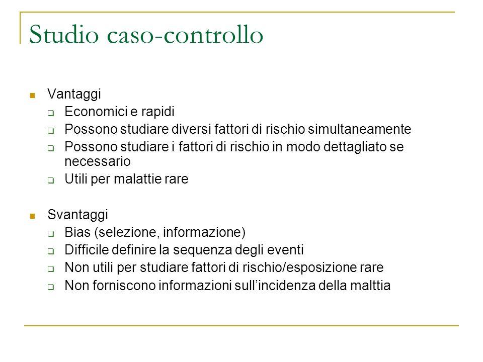 Studio caso-controllo Vantaggi Economici e rapidi Possono studiare diversi fattori di rischio simultaneamente Possono studiare i fattori di rischio in